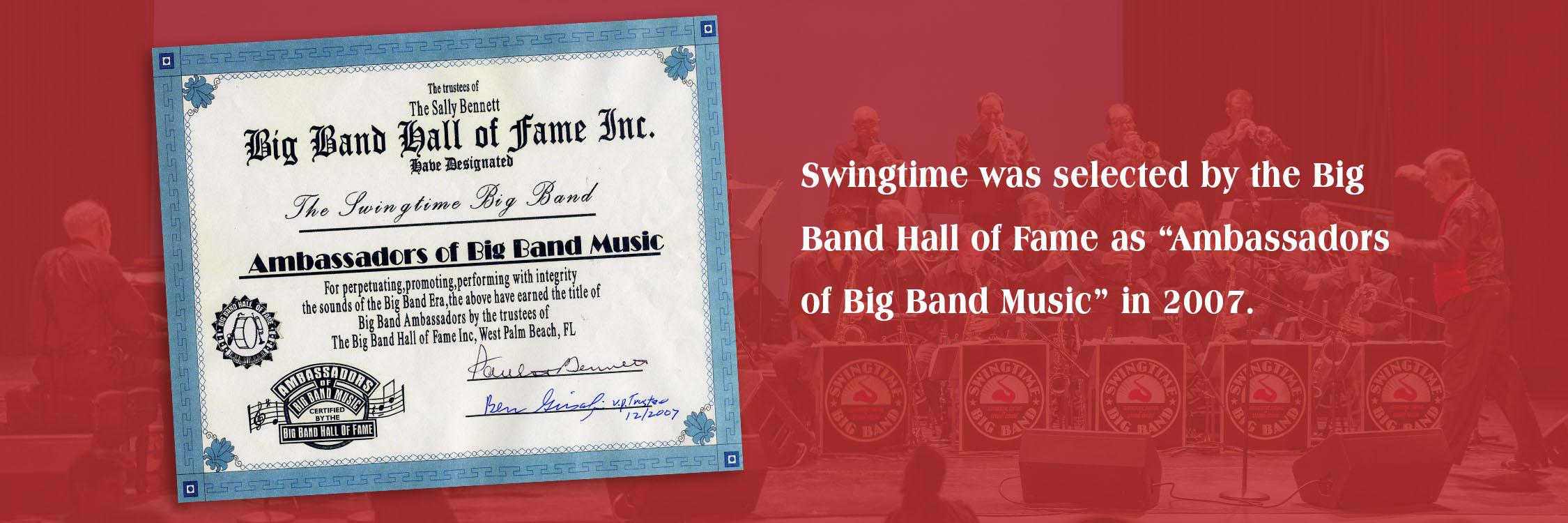 Ambassadors of Big Band Music certificate